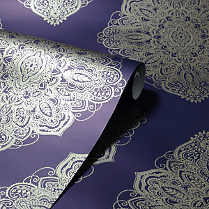Arthouse Henna Navy & Gold Wallpaper 10.05m x 53cm