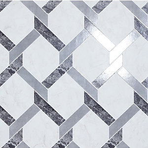Arthouse Interlock Marble Grey & White Wallpaper 10.05m x 53cm