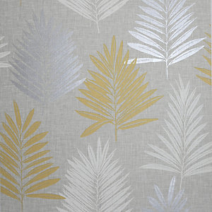 Arthouse Linen Palm Ochre & Grey Wallpaper 10.05m x 53cm