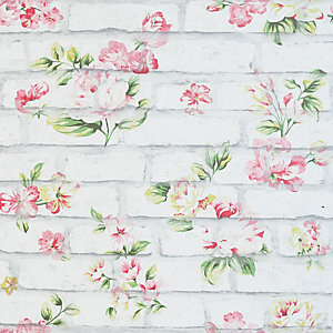 Arthouse Shabby Chic Brick Pink & White Wallpaper 10.05m x 53cm