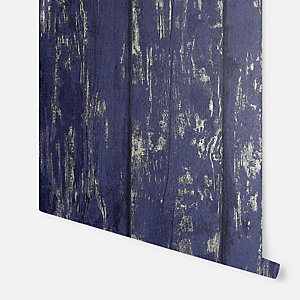 Arthouse Metallic Washed Wood Navy & Gold Wallpaper 10.05m x 53cm