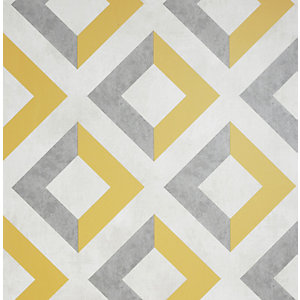 Arthouse Urban Geo Ochre & Grey Wallpaper 10.05m x 53cm