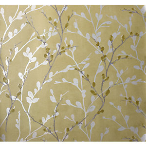 Arthouse Glitter Willow Ochre Wallpaper 10.05m x 53cm