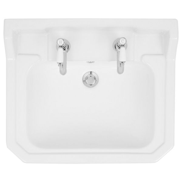 Wickes Oxford Traditional 2 Tap Hole Semi Recessed Bathroom Basin - 550mm