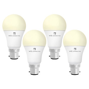 4lite WiZ Connected LED SMART B22 Light Bulb White 4 Pack