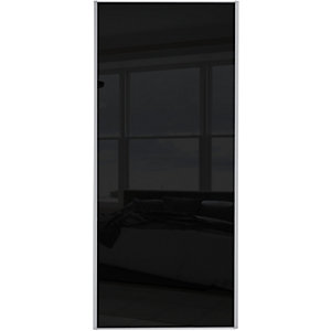Spacepro Sliding Wardrobe Door Silver Framed Single Panel Black Glass