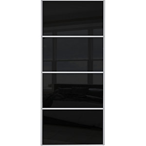 Spacepro Sliding Wardrobe Door Silver Framed Four Panel Black Glass