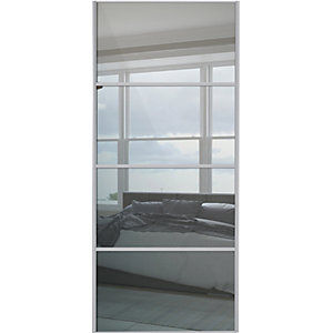 Spacepro Sliding Wardrobe Door Silver Framed Four Panel Mirror