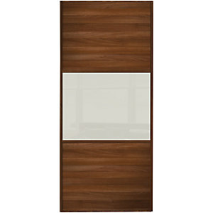 Spacepro Sliding Wardrobe Wideline Door Walnut Panel & Arctic White Glass
