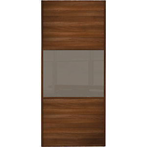 Spacepro Sliding Wardrobe Door Wideline Walnut Panel & Cappuccino Glass