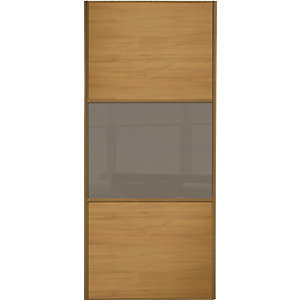Spacepro Sliding Wardrobe Door Wideline Oak Panel & Cappuccino Glass