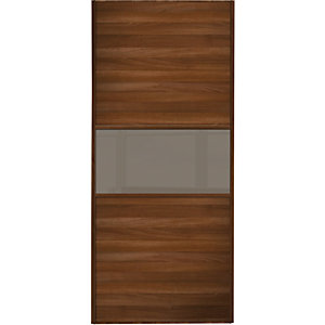 Spacepro Sliding Wardrobe Door Fineline Walnut Panel & Cappuccino Glass