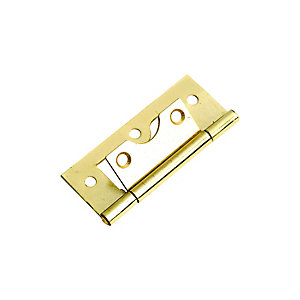 Wickes Flush Hinge - Brass 63mm Pack of 2
