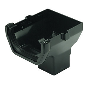 FloPlast 114mm Square Line Gutter Stop End Outlet - Black