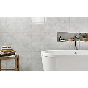Wickes Tivoli Grey Ceramic Wall Tile - 330 x 250mm