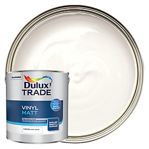 Dulux Trade Vinyl Matt Emulsion Paint - Pure Brilliant White 2.5L