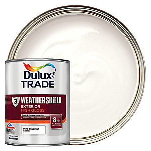 Dulux Trade Weathershield Gloss Paint - Pure Brilliant White 1L