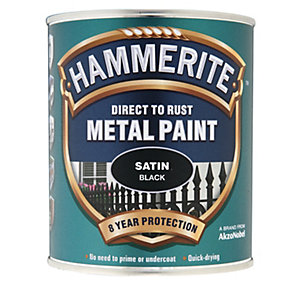 Hammerite Metal Paint - Satin Black 750ml