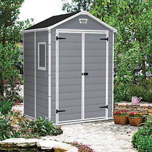 Keter Manor 6 x 5ft Double Door Outdoor Apex Plastic Garden Shed