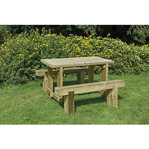 Forest Garden Sleeper Bench and Table Set - 1.2m