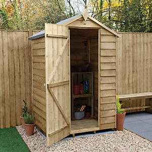 Forest Garden 4 x 3ft Windowless Overlap Apex Pressure Treated Shed