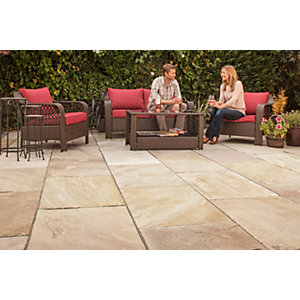 Marshalls Indian Sandstone Riven Brown Paving Slab Mixed Size - 15.23 m2 pack
