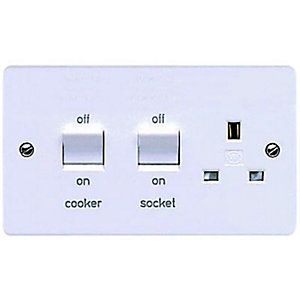 MK 45 Amp Double Pole Cooker Switch & Socket - White