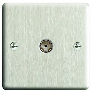 Wickes Single Raised Plate Coaxial Socket - Brushed Steel