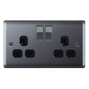Wickes 13A Raised Plate Twin Switched Socket - Black Nickel