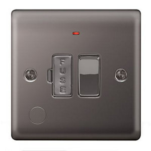 Wickes 13A Switched Fused Socket + LED Screwed Raised Plate Black Nickel