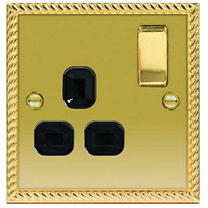 Wickes 13A Raised Plate Single Switched Socket - Georgian Brass