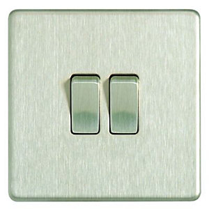 Wickes 10A Light Switch 2 Gang 2 Way Brushed Steel Screwless Flat Plate