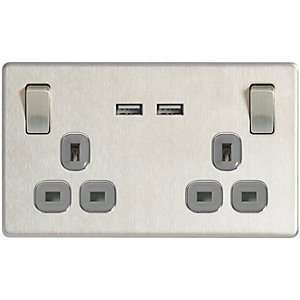 Wickes 13A Twin Switched Socket With 2 X USB Ports - Brushed Steel