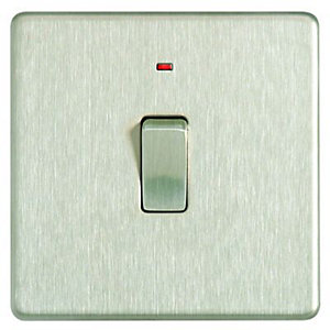 Wickes 20A Light Switch + LED 1 Gang Brushed Steel Screwless Flat Plate