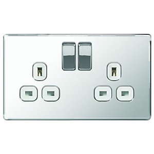 Wickes 13A Screwless Flat Plate Twin Switched Socket - Polished Silver