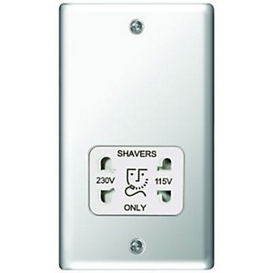 Wickes Twin Raised Plate Dual Voltage Shaver Socket - Polished Silver
