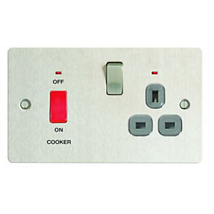 Wickes 45A Cooker Switch & 13A Socket Brushed Steel Ultra Flat Plate