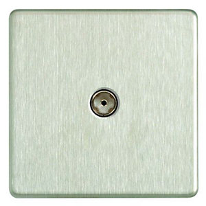 Wickes Single Screwless Flat Plate Coaxial Socket - Brushed Steel