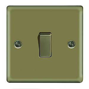 Wickes 10A Light Switch 1 Gang 2 Way Pearl Nickel Raised Plate