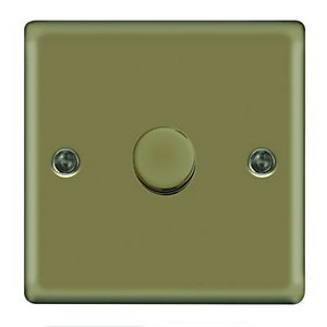 Wickes Dimmer Switch 1 Gang 2 Way 400W Pearl Nickel Raised Plate