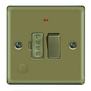 Wickes 13A Switched Fused Socket + LED Screwed Raised Plate Pearl Nickel