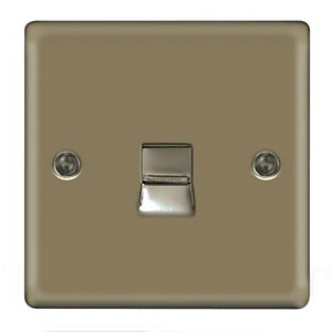 Wickes Single Raised Plate Master Telephone Socket - Pearl Nickel