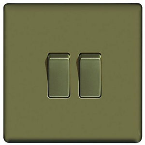 Wickes 10A Light Switch 2 Gang 2 Way Pearl Nickel Screwless Flat Plate