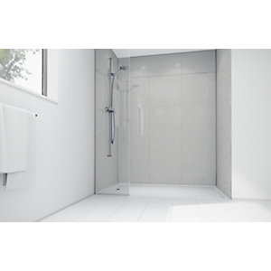 Mermaid White Sparkle Gloss Laminate Single Shower Panel