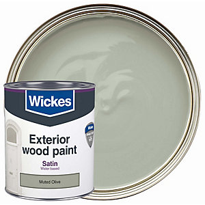Wickes Exterior Satinwood Paint Muted Olive 750ml