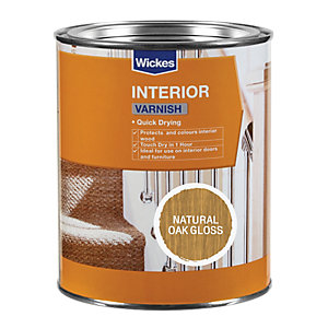 Wickes Quick Drying Interior Varnish - Natural Oak Gloss 750ml