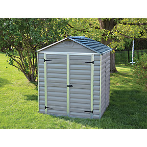 Palram 6 x 5ft Double Door Plastic Apex Shed with Skylight Roof