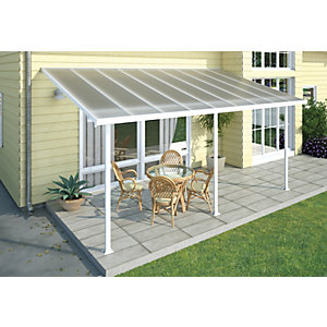 Palram Feria Polycarbonate Patio Canopy White - 2950 x 3070 mm