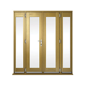 Image of Wickes Albery Pattern 10 Solid Oak Laminate French Doors 6ft with 2 Side Lites 300mm