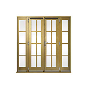 Image of Wickes Albery Georgian Bar Solid Oak Laminate French Doors 6ft with 2 Side Lites 300mm